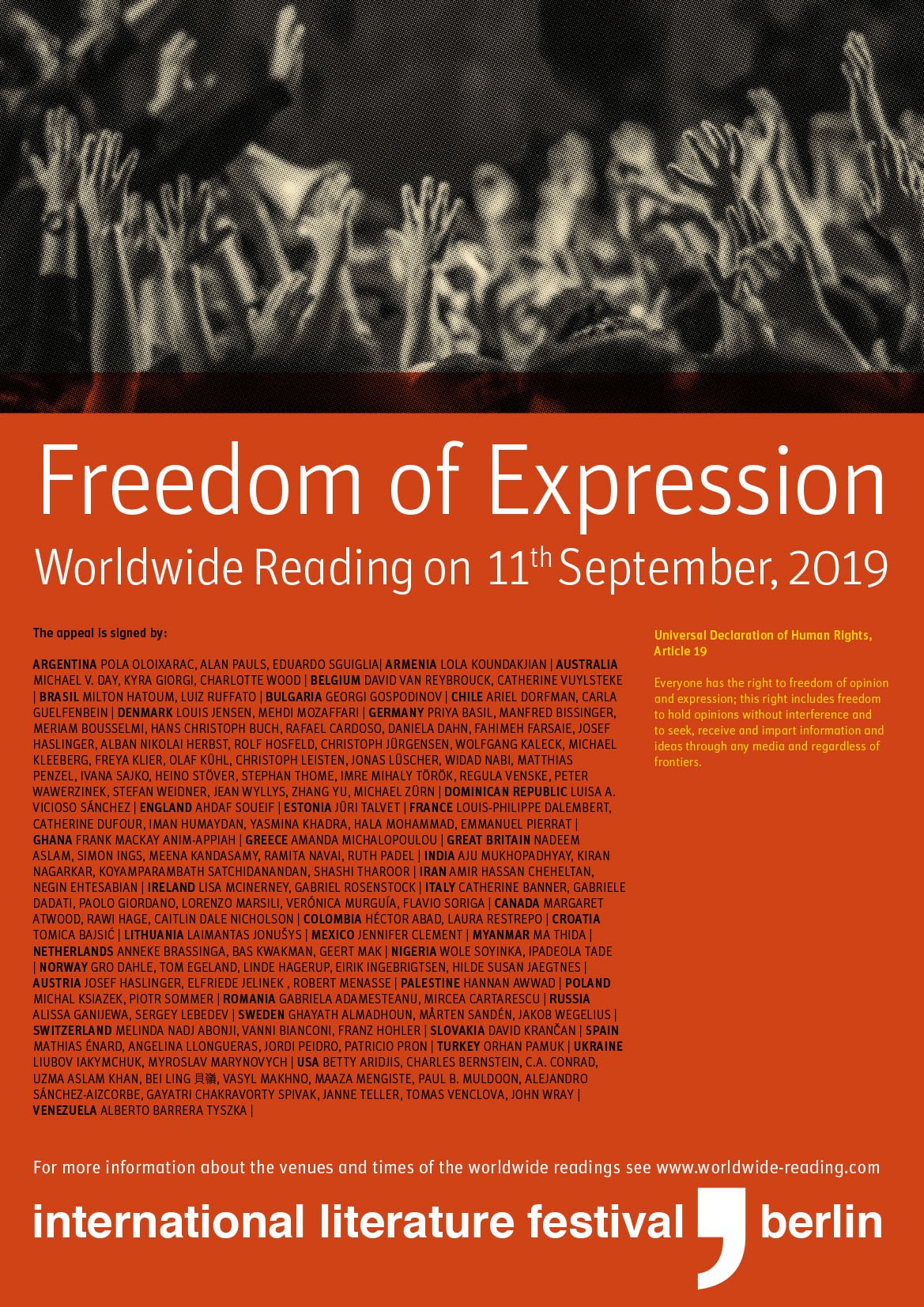 11.09.2019 - Worlwide Reading for Freedom of Expression