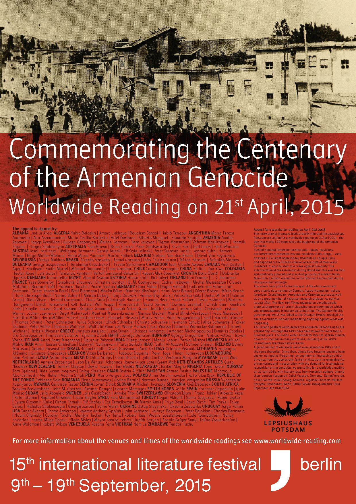 21.04.2015 - Worldwide Reading Commemorating the Centenary of the Armenian Genocide